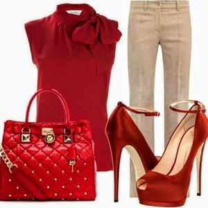 Michael Kors Large Red Quilted Hamilton Bag